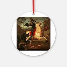 St. George Fighting Dragon Ornament (Round)