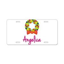 Christmas Wreath Angelica Aluminum License Plate