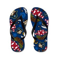 Cute Pirate Captain and Ship Flip Flops