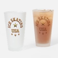 Ice Skating USA Drinking Glass