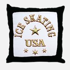 Ice Skating USA Throw Pillow