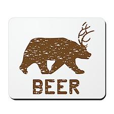 Bear + Deer = Beer Mousepad