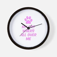 My Cat Walks All Over Me Wall Clock