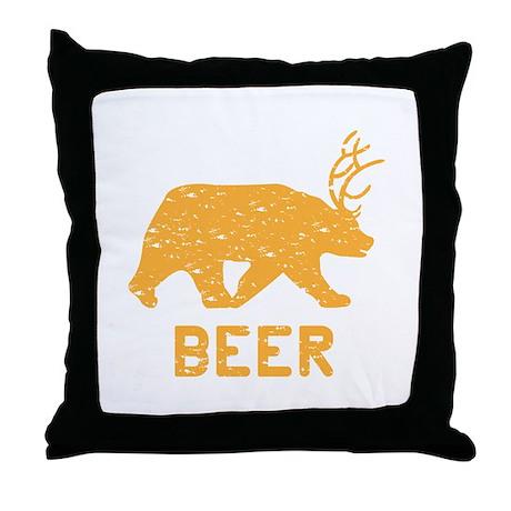 Bear + Deer = Beer Throw Pillow