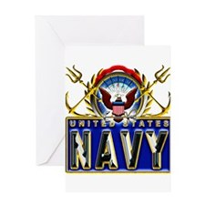 US Navy Eagle Anchors Trident Greeting Card