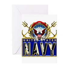 US Navy Eagle Anchors Trident Greeting Cards (Pk o