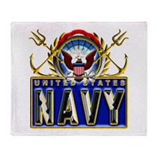 US Navy Eagle Anchors Trident Throw Blanket