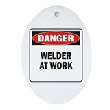 Welder in training Oval Ornaments