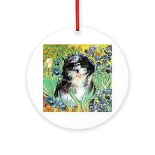 Irises / Shih Tzu #12 Ornament (Round)