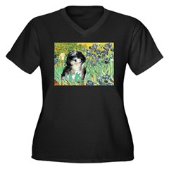 Irises / Shih Tzu #12 Women's Plus Size V-Neck Dar