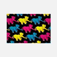 Three Elephant Tug of War Rectangle Magnet
