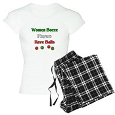 Women bocce players have balls. Pajamas