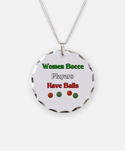 Women bocce players have balls. Necklace