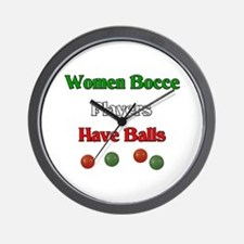 Women bocce players have balls. Wall Clock