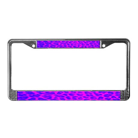 Blue & Pink Leopard Print License Plate Frame