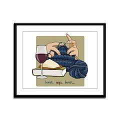 Knit Sip Knit Framed Print (horizontal)