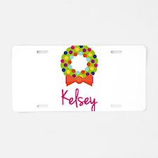 Christmas Wreath Kelsey Aluminum License Plate