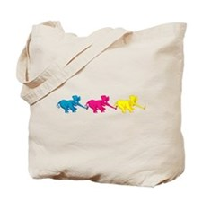 Three Elephant Tug of War Tote Bag