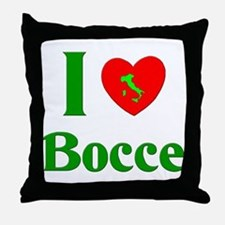 I Love Bocce Throw Pillow