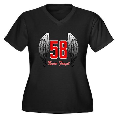 MS58wings Women's Plus Size V-Neck Dark T-Shirt