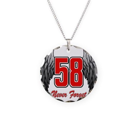 MS58wings Necklace Circle Charm