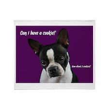 Boston Terrier wants a cookie Throw Blanket