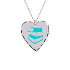 Stack Of Cyan Books Necklace