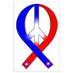 Patriotic Peace Ribbon Large Poster