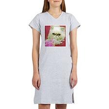 White Persian and Pink Women's Nightshirt