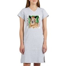 Golden Christmas with Antlers Women's Nightshirt