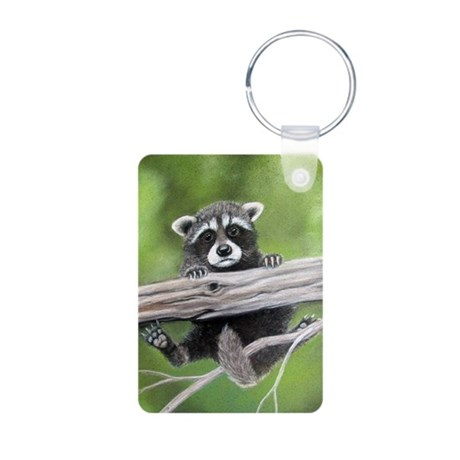 Baby raccoon hanging from a t Aluminum Photo Keych