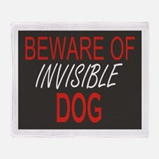 Beware of Invisible Dog Throw Blanket