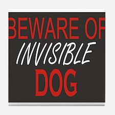 Beware of Invisible Dog Tile Coaster