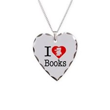 I Heart Books or I Love Books Necklace Heart Charm