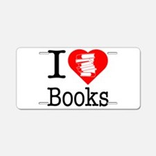 I Heart Books or I Love Books Aluminum License Pla