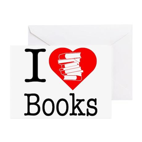 I Heart Books or I Love Books Greeting Cards (Pk o