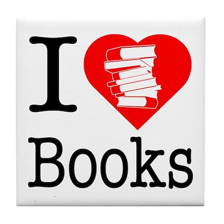 I Heart Books or I Love Books Tile Coaster