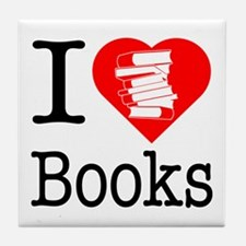 I Heart Books or I Love Books Tile Coaster