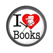 I Heart Books or I Love Books Wall Clock