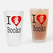 I Heart Books or I Love Books Drinking Glass