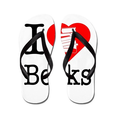 I Heart Books or I Love Books Flip Flops