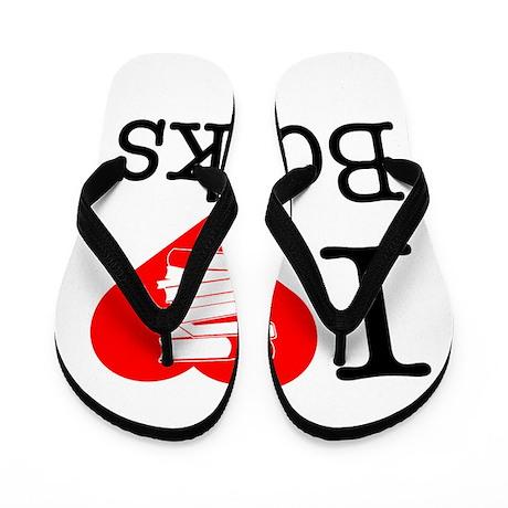 I Heart Books or I Love Books Flip Flops