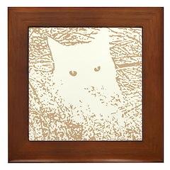 Cat in the Grass Framed Tile