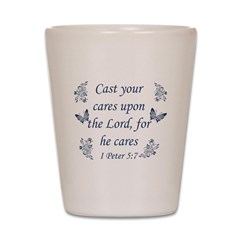 Inspirational bible quote designs Shot Glass