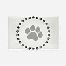 Silver Paw Print Design Rectangle Magnet