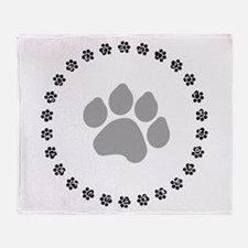 Silver Paw Print Design Throw Blanket