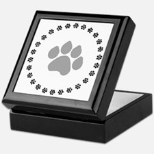 Silver Paw Print Design Keepsake Box