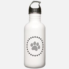 Silver Paw Print Design Water Bottle