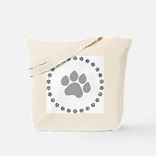 Silver Paw Print Design Tote Bag
