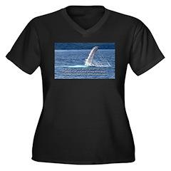 Cup Run Over Women's Plus Size V-Neck Dark T-Shirt